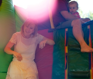 Mommy made it into the bounce house too!